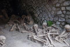 Skeletal remains of victims of the AD 79 Vesuvius eruption, Herculaneum, Italy royalty free stock images