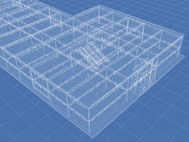 Skeleton. Abstract architectural 3D drawing of industrial building on blue Stock Photography