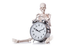 Skeleton with alarm clock Stock Photography