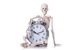 Skeleton with alarm clock Royalty Free Stock Photo