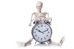 Skeleton with alarm clock Stock Photos