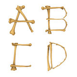 Skeleton Alphabet A-D Lizenzfreie Stockfotos