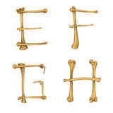 Skeleton alphabet E-H Stock Photo