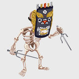 Skeleton in Ancient mask with daggers Royalty Free Stock Images