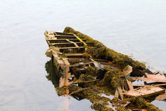 Skeleton of an ancient ship after crash Royalty Free Stock Photo
