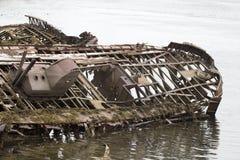 Skeleton of an ancient ship after crash Stock Image