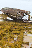 Skeleton of an ancient ship after crash Stock Photography