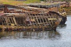 Skeleton of an ancient ship after crash Royalty Free Stock Photos