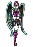 Skeleton Angel Glamour Girl. Illustration cute skeleton woman in fashion clothes with angel wings vector illustration