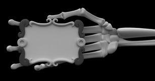 Skeleton Arm, Grey Scroll Sign. 3d skeletal arm, over white Stock Photo