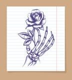 Skeleton arm sketch with rose Royalty Free Stock Photos