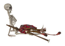 Skeleton with Bagpipes. Skeleton with Traditional Scottish Bagpipes with Reeds and Bag - path included stock photos