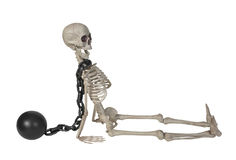 Skeleton with Ball and Chain around it& x27;s neck Royalty Free Stock Images