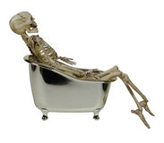 Skeleton in a Bathtub. Large skeleton of bones and skull in a silver bathtub - path included Stock Image