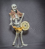 skeleton behind the glass with alcohol fluid and royalty free stock photo