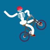 Skeleton on bicycle. Skull and BMX. Boy skeletons rolling bike.  Royalty Free Stock Photo