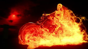 Skeleton biker in fire stock video