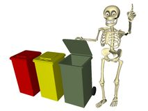 Skeleton with bins for various types of waste Stock Image