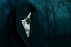 Skeleton in a black hood. Royalty Free Stock Images
