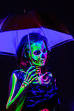 Skeleton bodyart with blacklight Royalty Free Stock Images