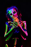 Skeleton bodyart with blacklight Royalty Free Stock Photos