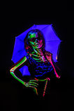 Skeleton bodyart with blacklight Stock Image