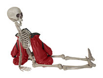 Skeleton with Boxing Gloves Royalty Free Stock Images