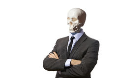 Skeleton in business suit isolated on white Royalty Free Stock Image