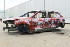Skeleton car. Skeleton auto color spray and sprayed graffiti Royalty Free Stock Image