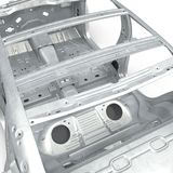 Skeleton of a car on white. 3D illustration Stock Image