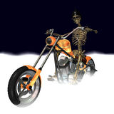 Skeleton Chopper 1. Skeleton looking cool with a bit of an attitude on his fire orange and chrome chopper. Fog with a dark blue background stock illustration