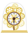 Skeleton Clock Golden Multiple Gears Vector Royalty Free Stock Images