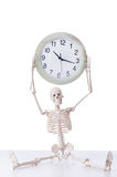 The skeleton with clock isolated on white Stock Photo