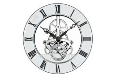 Skeleton clock isolated on white with clipping path. Stock Image