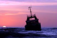 Skeleton coast Namibia. Stranded ship on the Skeleton coast in Namiba stock images