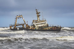 Skeleton coast Namibia. A relict of a ship in the skeleton coast in Namibia stock photo