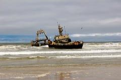 Skeleton coast in naminia. Shipwreck on skeleton coast namibia Royalty Free Stock Images