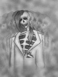 Skeleton. Conceptual drawing of a bad habit - smoking Royalty Free Stock Photography