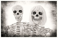 Skeleton Couple Portrait Royalty Free Stock Photography