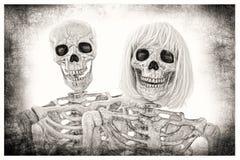 Skeleton Couple Portrait Royalty Free Stock Photography