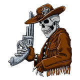 Skeleton Cowboy with revolver Royalty Free Stock Photos