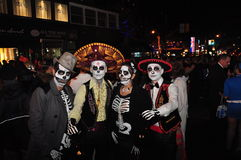 Skeleton crew at Zombie Crawl and Parade Royalty Free Stock Photography