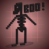Skeleton. 3D Pixel Art. Skeleton. 3D Pixel Art for design Royalty Free Illustration