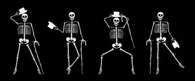 Skeleton Dancers. Illustration of skeletons dancing with canes and hats Stock Images