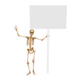 Skeleton is dancing with sign Royalty Free Stock Images