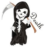 Skeleton and death. Smiling skeleton stand with word death vector illustration