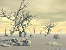 Skeleton in the desert - 3D render Stock Photography
