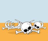 Skeleton in desert. Skull and bones lying on yellow sand. Dead. Desert landscape Stock Photo