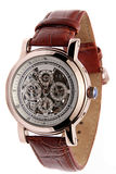 Skeleton dial wristwatch. Men's skeleton dial wristwatch with a brown leather strap isolated on white Royalty Free Stock Photography