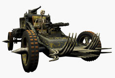 Skeleton Driving a War Machine - includes clipping path. 3D render of a skeleton driving a war machine Royalty Free Stock Photography